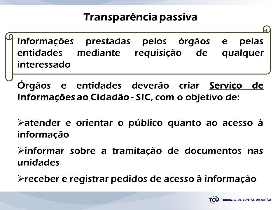 Transparência passiva Informações prestadas pelos órgãos e pelas entidades mediante requisição de qualquer interessado Órgãos e entidades deverão cria