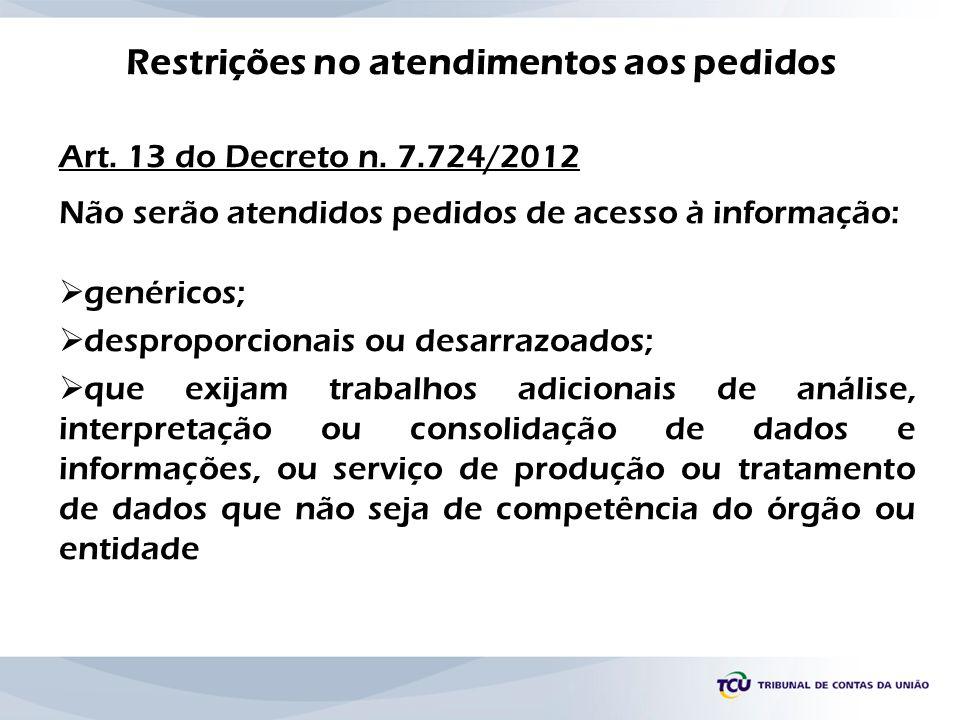 Restrições no atendimentos aos pedidos Art. 13 do Decreto n. 7.724/2012 Não serão atendidos pedidos de acesso à informação: genéricos; desproporcionai