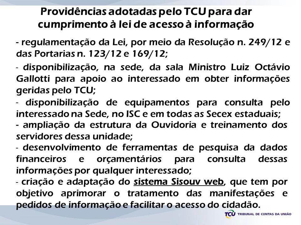 Providências adotadas pelo TCU para dar cumprimento à lei de acesso à informação - disponibilização de equipamentos para consulta pelo interessado na