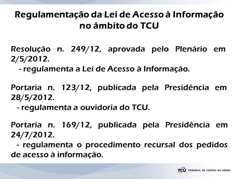 Regulamentação da Lei de Acesso à Informação no âmbito do TCU Resolução n. 249/12, aprovada pelo Plenário em 2/5/2012. - regulamenta a Lei de Acesso à