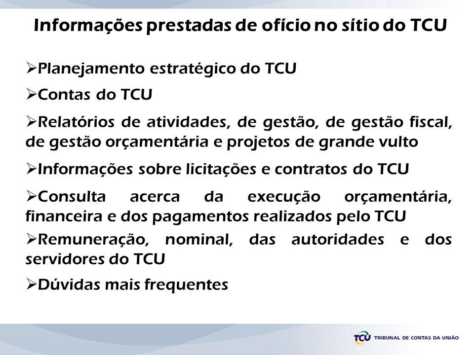 Informações prestadas de ofício no sítio do TCU Planejamento estratégico do TCU Contas do TCU Relatórios de atividades, de gestão, de gestão fiscal, d