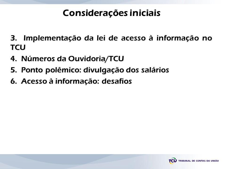Considerações iniciais 3. Implementação da lei de acesso à informação no TCU 4. Números da Ouvidoria/TCU 5. Ponto polêmico: divulgação dos salários 6.