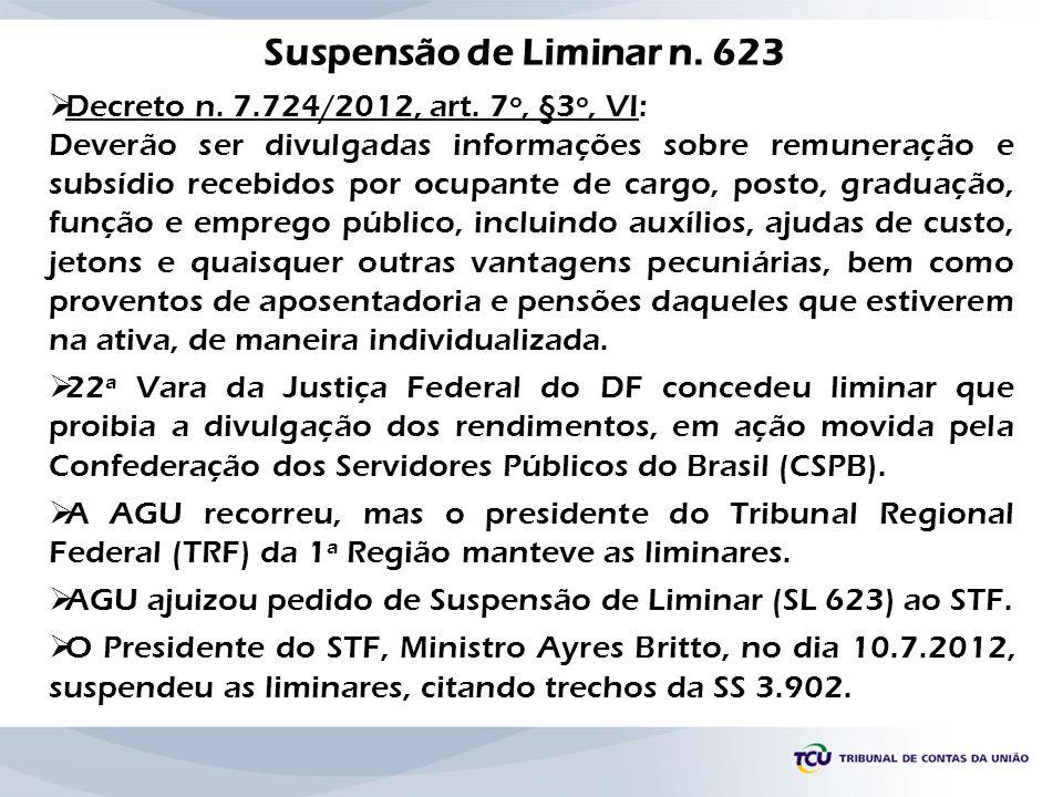 Decreto n. 7.724/2012, art. 7º, §3º, VI: Deverão ser divulgadas informações sobre remuneração e subsídio recebidos por ocupante de cargo, posto, gradu