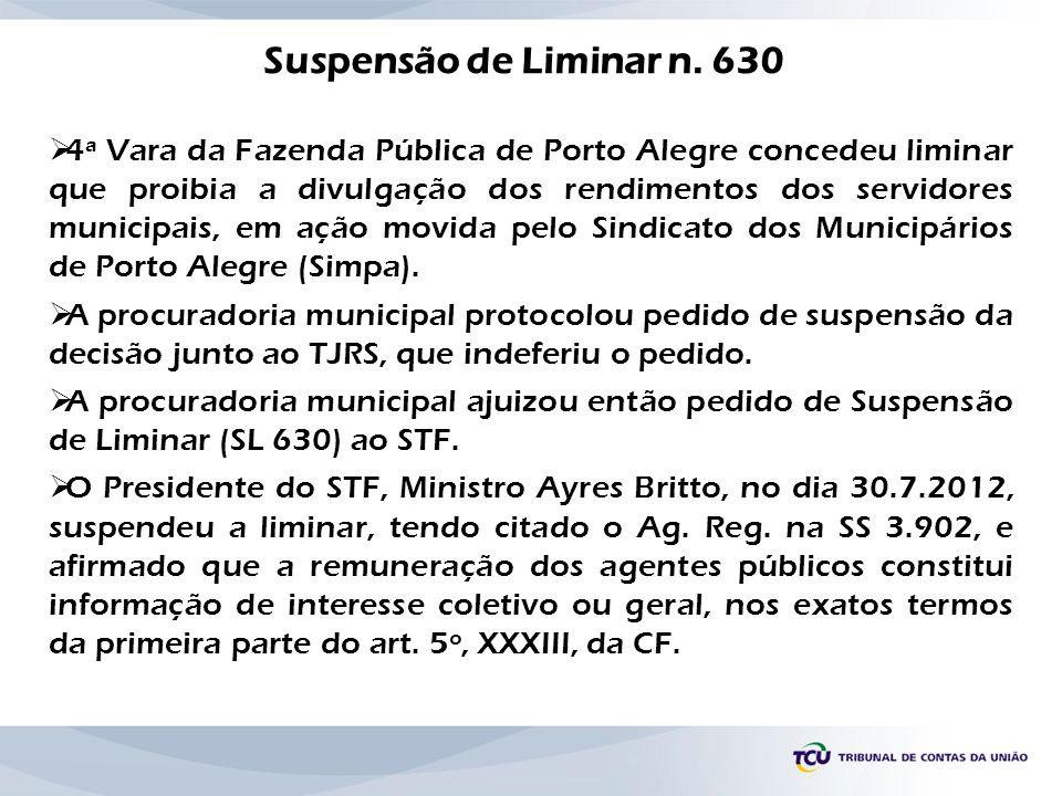 4ª Vara da Fazenda Pública de Porto Alegre concedeu liminar que proibia a divulgação dos rendimentos dos servidores municipais, em ação movida pelo Si