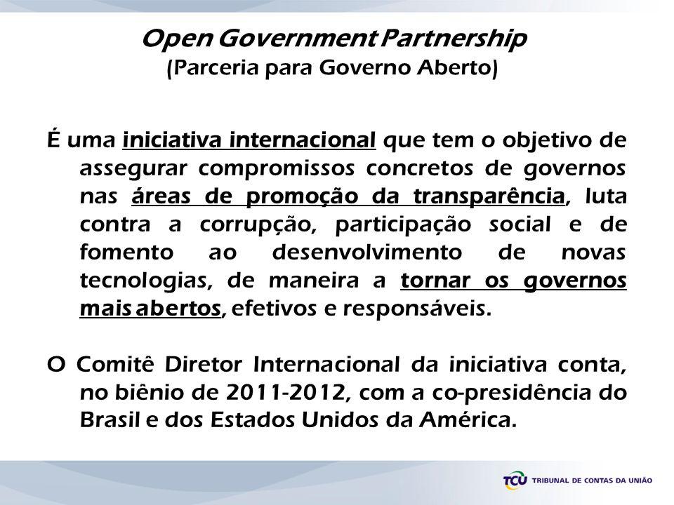 É uma iniciativa internacional que tem o objetivo de assegurar compromissos concretos de governos nas áreas de promoção da transparência, luta contra