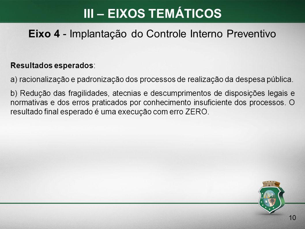 III – EIXOS TEMÁTICOS Resultados esperados: a) racionalização e padronização dos processos de realização da despesa pública. b) Redução das fragilidad