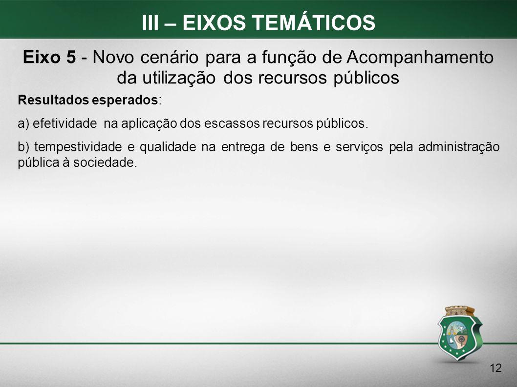 III – EIXOS TEMÁTICOS Resultados esperados: a) efetividade na aplicação dos escassos recursos públicos. b) tempestividade e qualidade na entrega de be