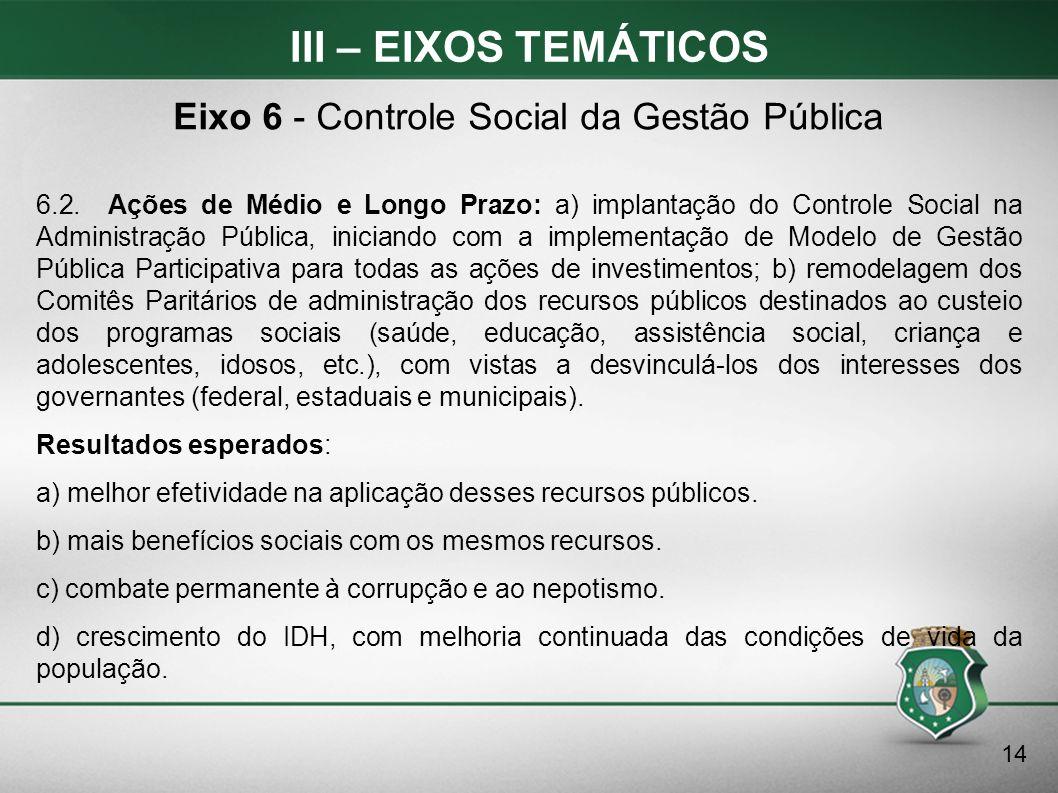 III – EIXOS TEMÁTICOS 6.2. Ações de Médio e Longo Prazo: a) implantação do Controle Social na Administração Pública, iniciando com a implementação de