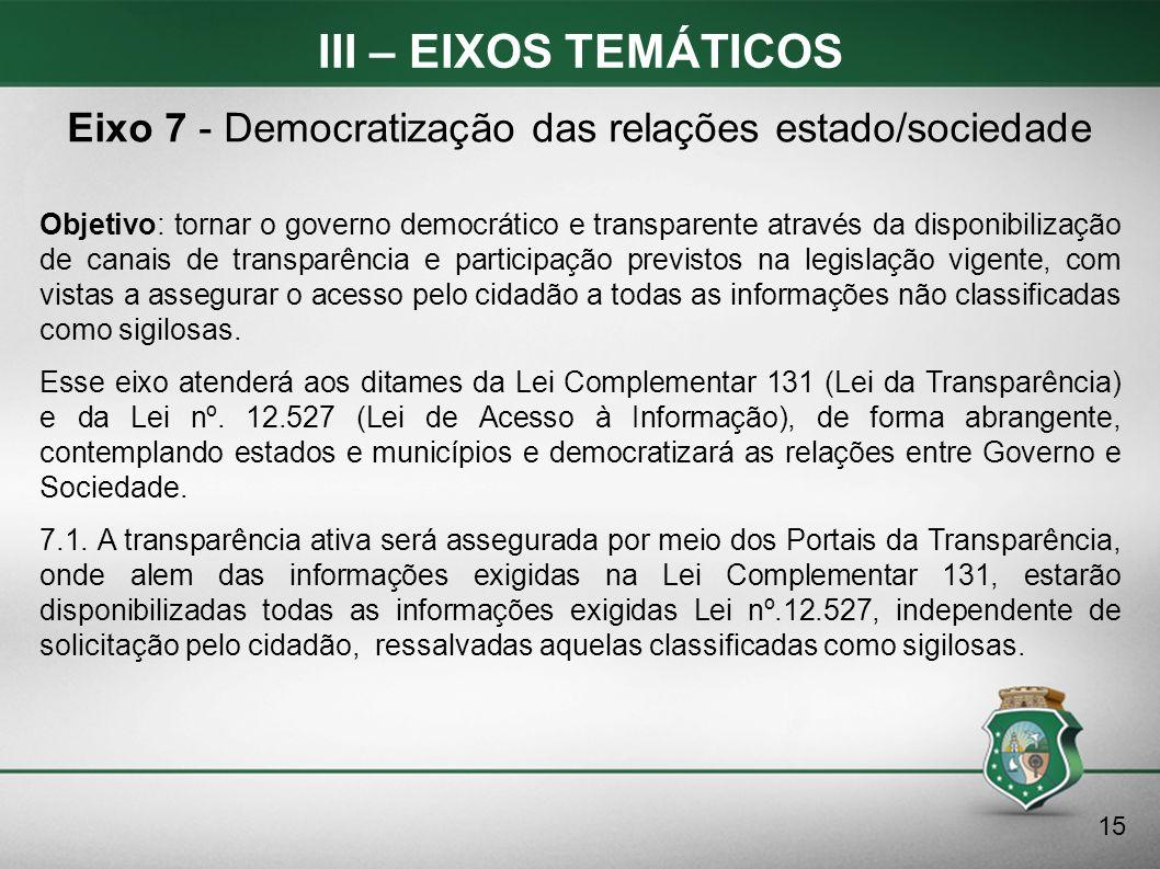 III – EIXOS TEMÁTICOS Objetivo: tornar o governo democrático e transparente através da disponibilização de canais de transparência e participação prev