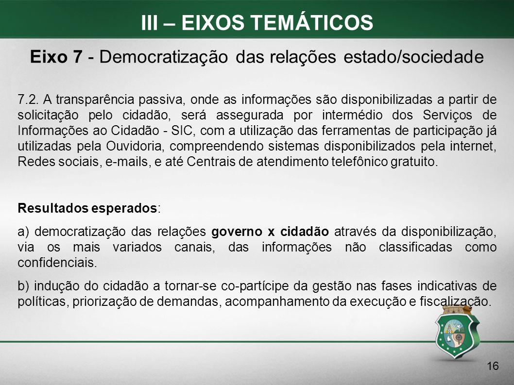 III – EIXOS TEMÁTICOS 7.2. A transparência passiva, onde as informações são disponibilizadas a partir de solicitação pelo cidadão, será assegurada por