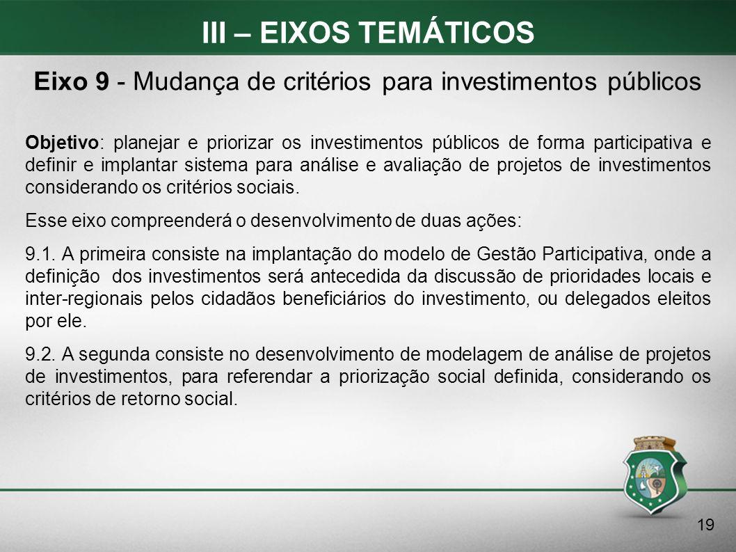 III – EIXOS TEMÁTICOS Objetivo: planejar e priorizar os investimentos públicos de forma participativa e definir e implantar sistema para análise e ava
