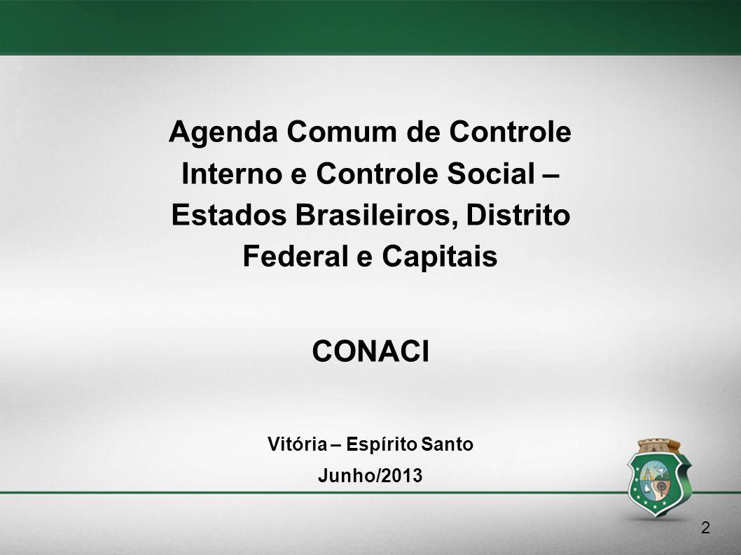 Agenda Comum de Controle Interno e Controle Social – Estados Brasileiros, Distrito Federal e Capitais Vitória – Espírito Santo Junho/2013 2 CONACI