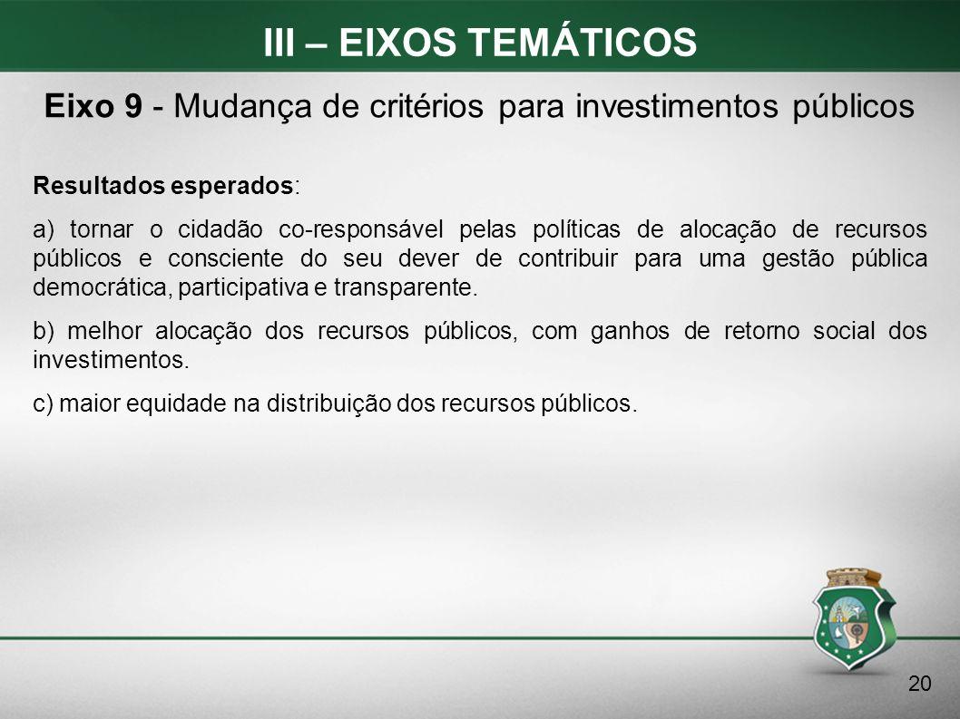 III – EIXOS TEMÁTICOS Resultados esperados: a) tornar o cidadão co-responsável pelas políticas de alocação de recursos públicos e consciente do seu de
