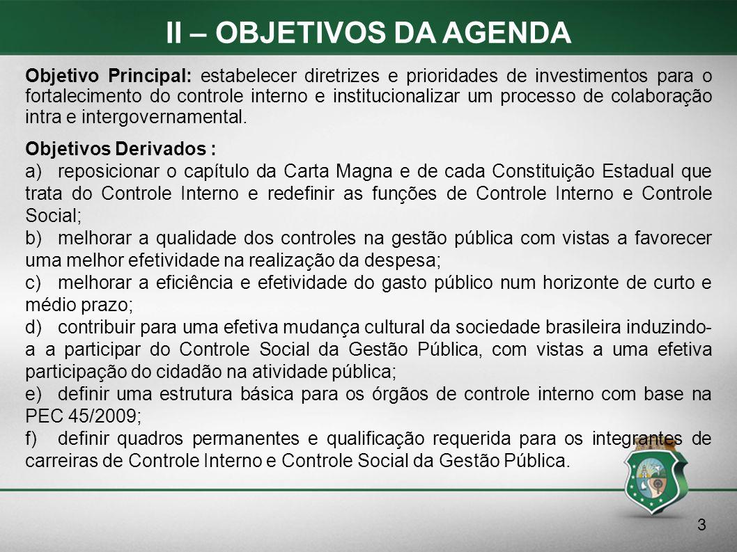 II – OBJETIVOS DA AGENDA Objetivo Principal: estabelecer diretrizes e prioridades de investimentos para o fortalecimento do controle interno e institu