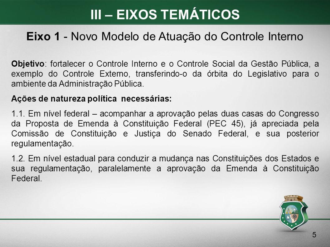 III – EIXOS TEMÁTICOS Objetivo: fortalecer o Controle Interno e o Controle Social da Gestão Pública, a exemplo do Controle Externo, transferindo-o da