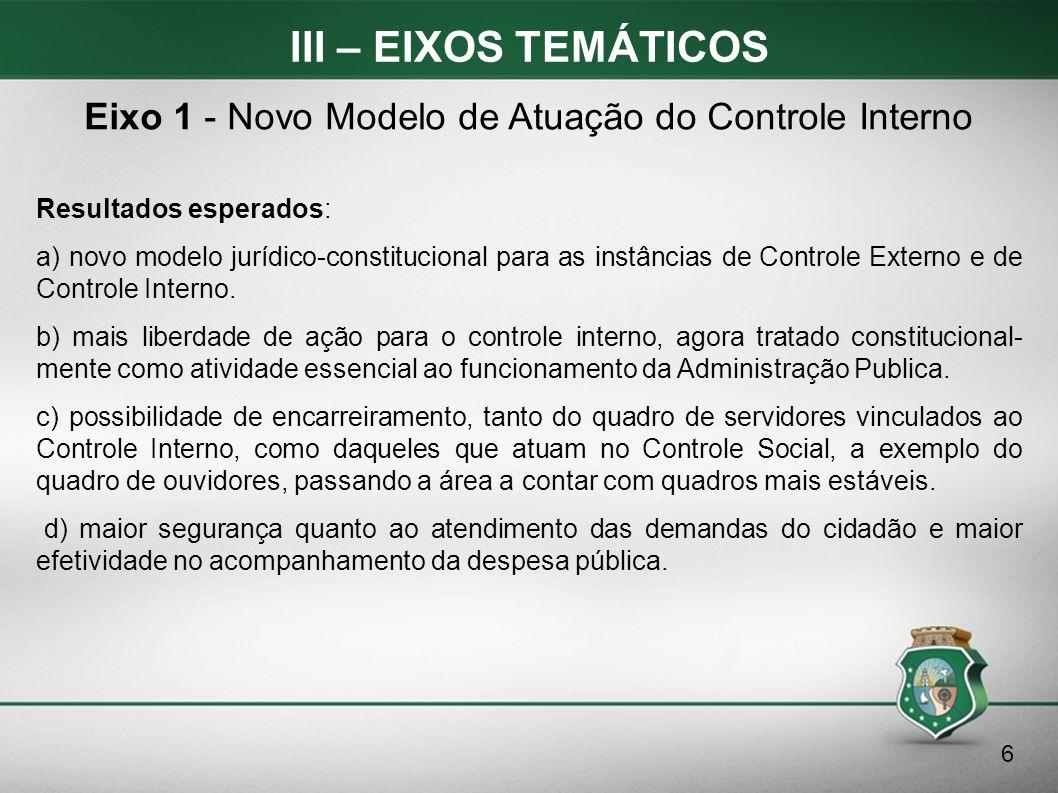 III – EIXOS TEMÁTICOS Resultados esperados: a) novo modelo jurídico-constitucional para as instâncias de Controle Externo e de Controle Interno. b) ma