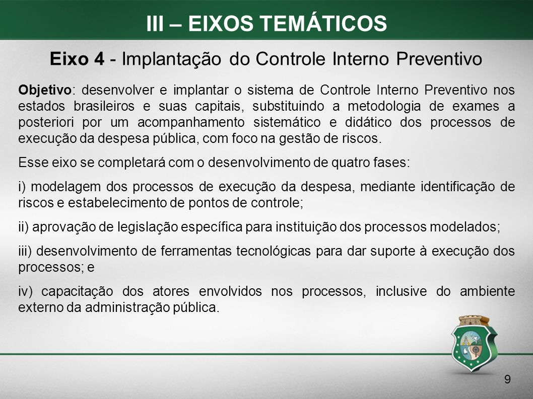 III – EIXOS TEMÁTICOS Objetivo: desenvolver e implantar o sistema de Controle Interno Preventivo nos estados brasileiros e suas capitais, substituindo