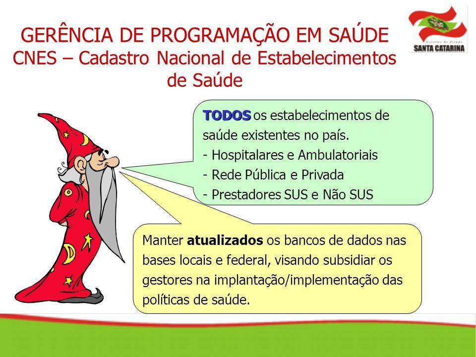 GERÊNCIA DE PROGRAMAÇÃO EM SAÚDE CNES – Cadastro Nacional de Estabelecimentos de Saúde TODOS TODOS os estabelecimentos de saúde existentes no país. -
