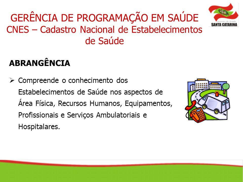 GERÊNCIA DE PROGRAMAÇÃO EM SAÚDE CNES – Cadastro Nacional de Estabelecimentos de Saúde ABRANGÊNCIA Compreende o conhecimento dos Estabelecimentos de S