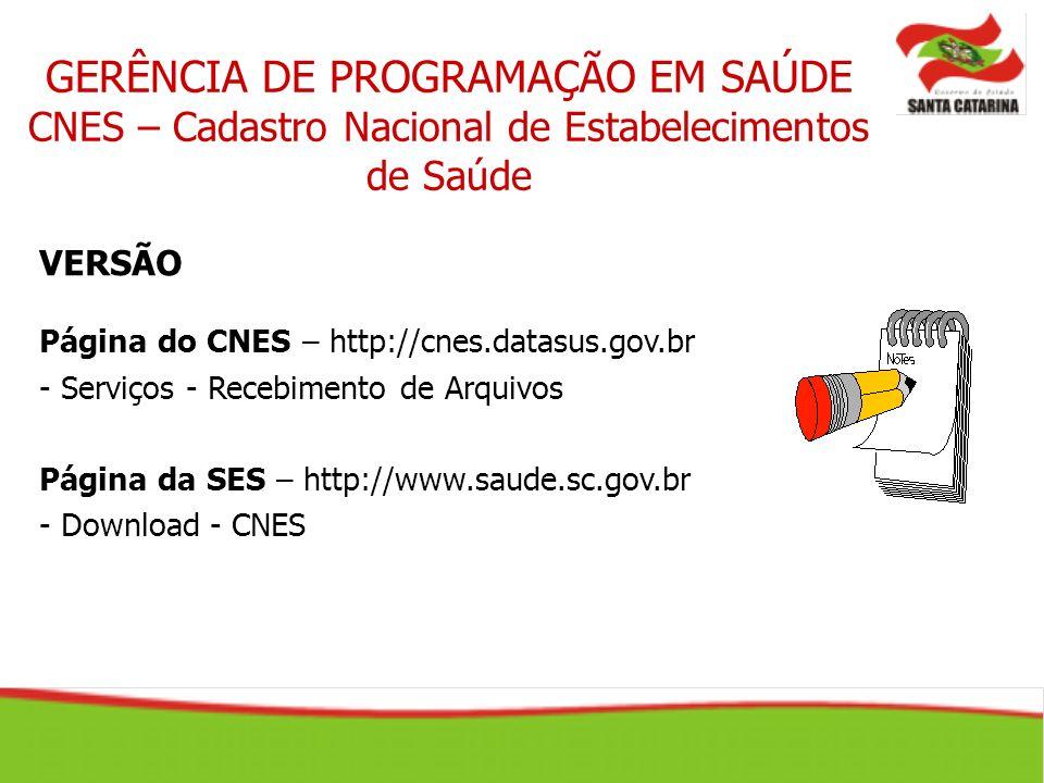 GERÊNCIA DE PROGRAMAÇÃO EM SAÚDE CNES – Cadastro Nacional de Estabelecimentos de Saúde VERSÃO Página do CNES – http://cnes.datasus.gov.br - Serviços -