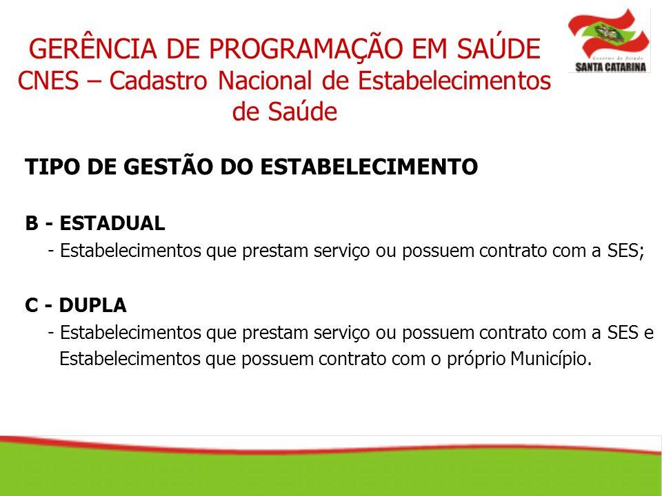 GERÊNCIA DE PROGRAMAÇÃO EM SAÚDE CNES – Cadastro Nacional de Estabelecimentos de Saúde TIPO DE GESTÃO DO ESTABELECIMENTO B - ESTADUAL - Estabeleciment