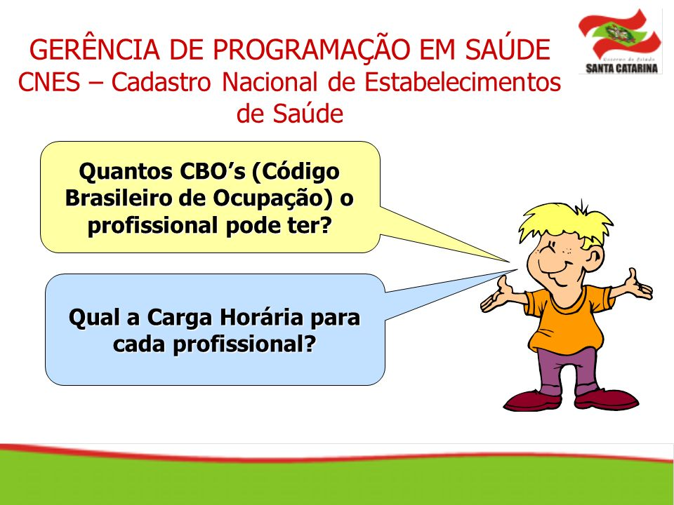 GERÊNCIA DE PROGRAMAÇÃO EM SAÚDE CNES – Cadastro Nacional de Estabelecimentos de Saúde Quantos CBOs (Código Brasileiro de Ocupação) o profissional pod