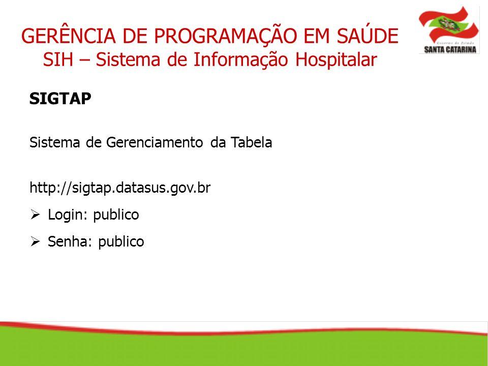 SIGTAP Sistema de Gerenciamento da Tabela http://sigtap.datasus.gov.br Login: publico Senha: publico