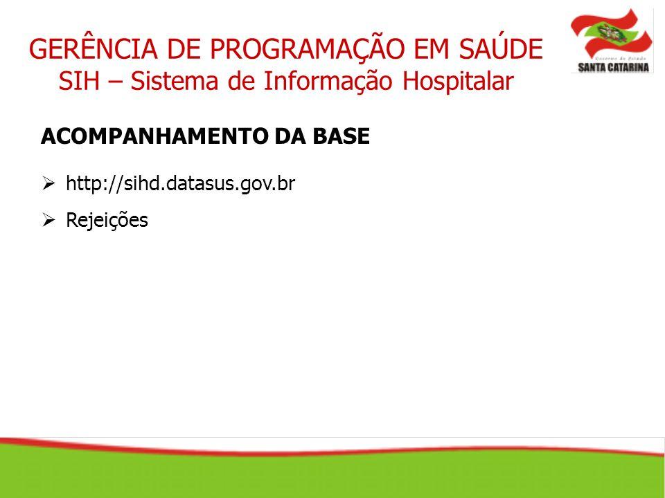 GERÊNCIA DE PROGRAMAÇÃO EM SAÚDE SIH – Sistema de Informação Hospitalar ACOMPANHAMENTO DA BASE http://sihd.datasus.gov.br Rejeições