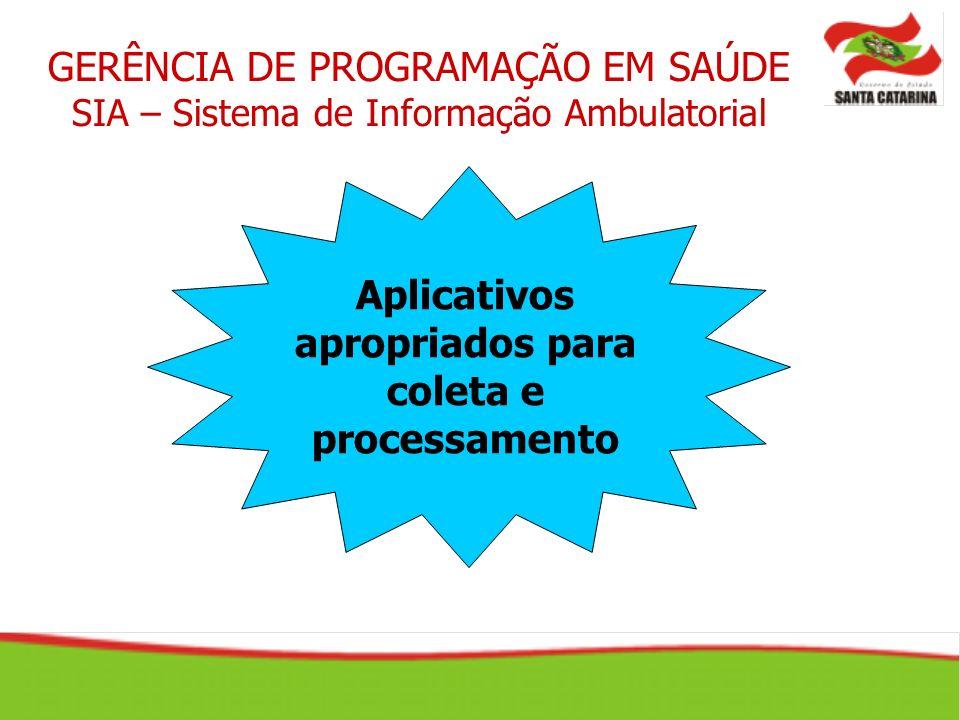 GERÊNCIA DE PROGRAMAÇÃO EM SAÚDE SIA – Sistema de Informação Ambulatorial Aplicativos apropriados para coleta e processamento