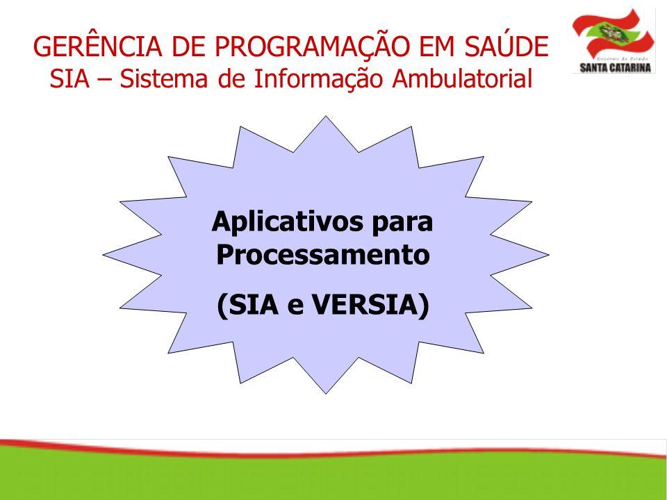 Aplicativos para Processamento (SIA e VERSIA) GERÊNCIA DE PROGRAMAÇÃO EM SAÚDE SIA – Sistema de Informação Ambulatorial