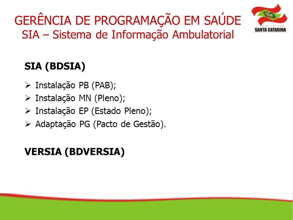 SIA (BDSIA) Instalação PB (PAB); Instalação MN (Pleno); Instalação EP (Estado Pleno); Adaptação PG (Pacto de Gestão). VERSIA (BDVERSIA)