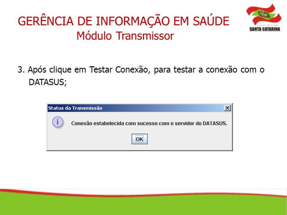 GERÊNCIA DE INFORMAÇÃO EM SAÚDE Módulo Transmissor 3. Após clique em Testar Conexão, para testar a conexão com o DATASUS;