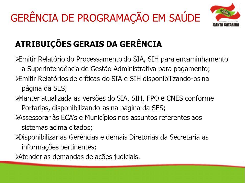 ATRIBUIÇÕES GERAIS DA GERÊNCIA Emitir Relatório do Processamento do SIA, SIH para encaminhamento a Superintendência de Gestão Administrativa para paga