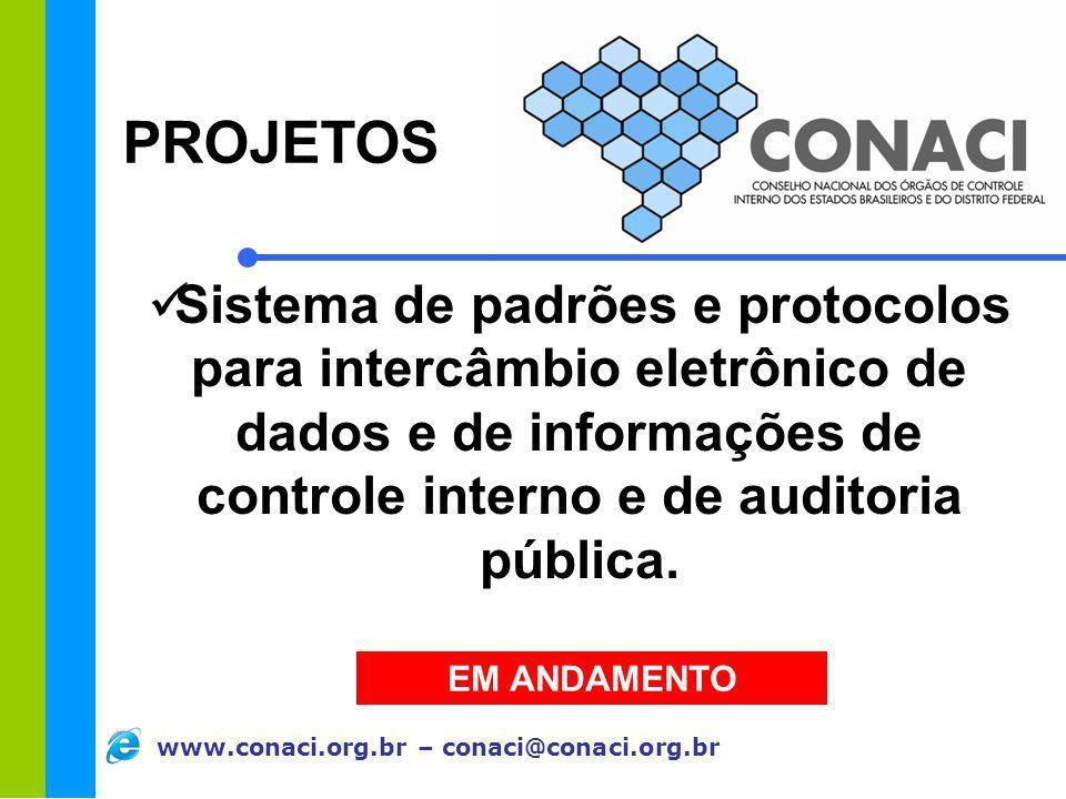 www.conaci.org.br – conaci@conaci.org.br Sistema de padrões e protocolos para intercâmbio eletrônico de dados e de informações de controle interno e d