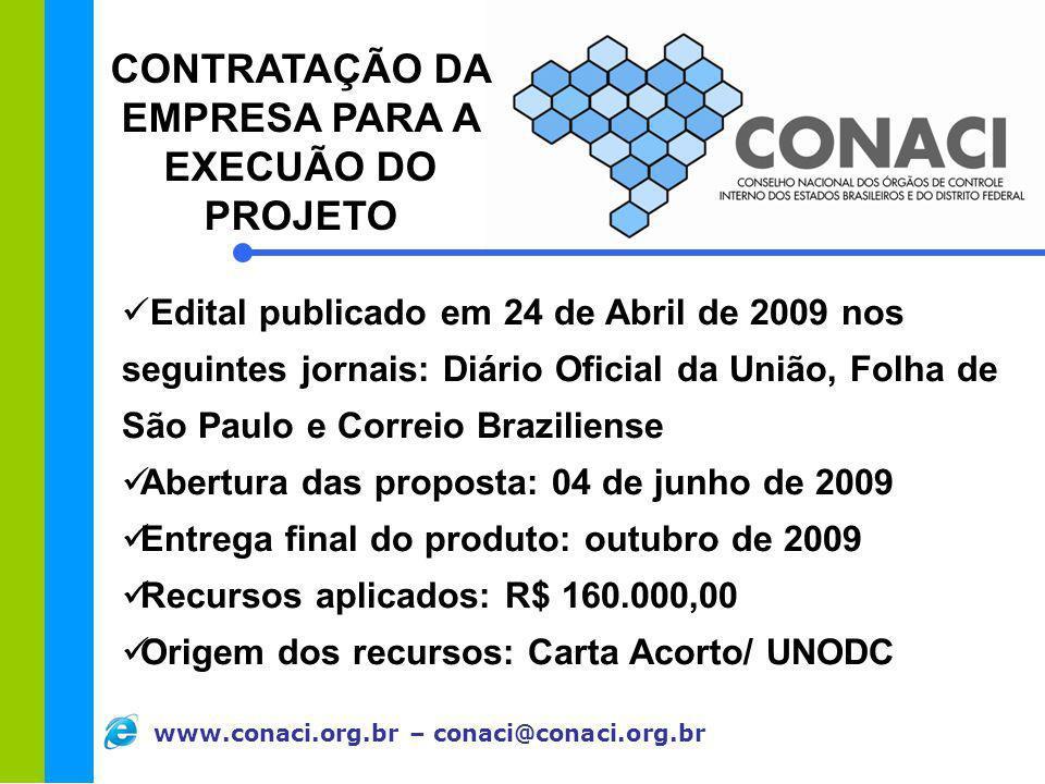 www.conaci.org.br – conaci@conaci.org.br Edital publicado em 24 de Abril de 2009 nos seguintes jornais: Diário Oficial da União, Folha de São Paulo e