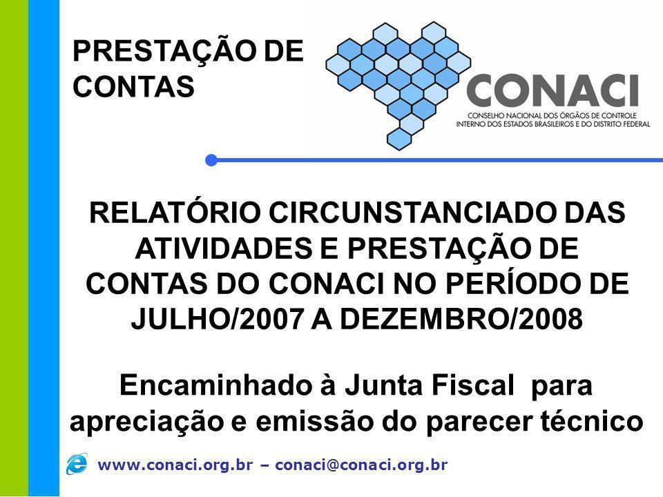 www.conaci.org.br – conaci@conaci.org.br PRESTAÇÃO DE CONTAS RELATÓRIO CIRCUNSTANCIADO DAS ATIVIDADES E PRESTAÇÃO DE CONTAS DO CONACI NO PERÍODO DE JU