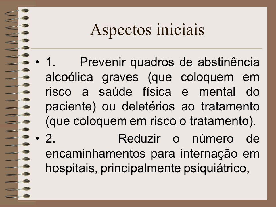 Aspectos iniciais 1. Prevenir quadros de abstinência alcoólica graves (que coloquem em risco a saúde física e mental do paciente) ou deletérios ao tra