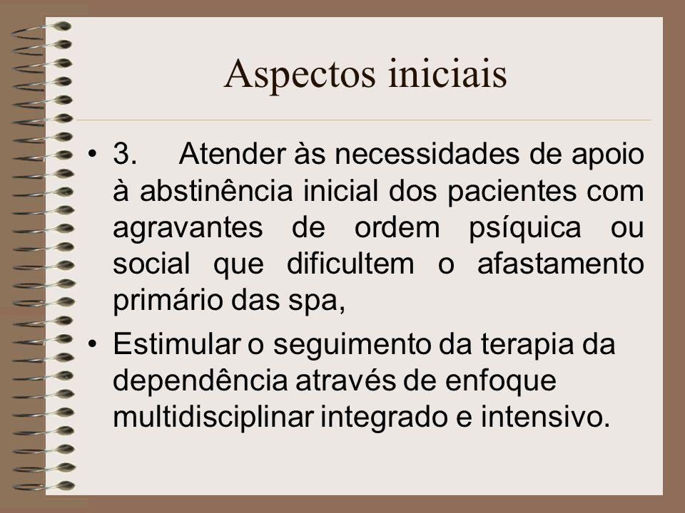Aspectos iniciais 3. Atender às necessidades de apoio à abstinência inicial dos pacientes com agravantes de ordem psíquica ou social que dificultem o