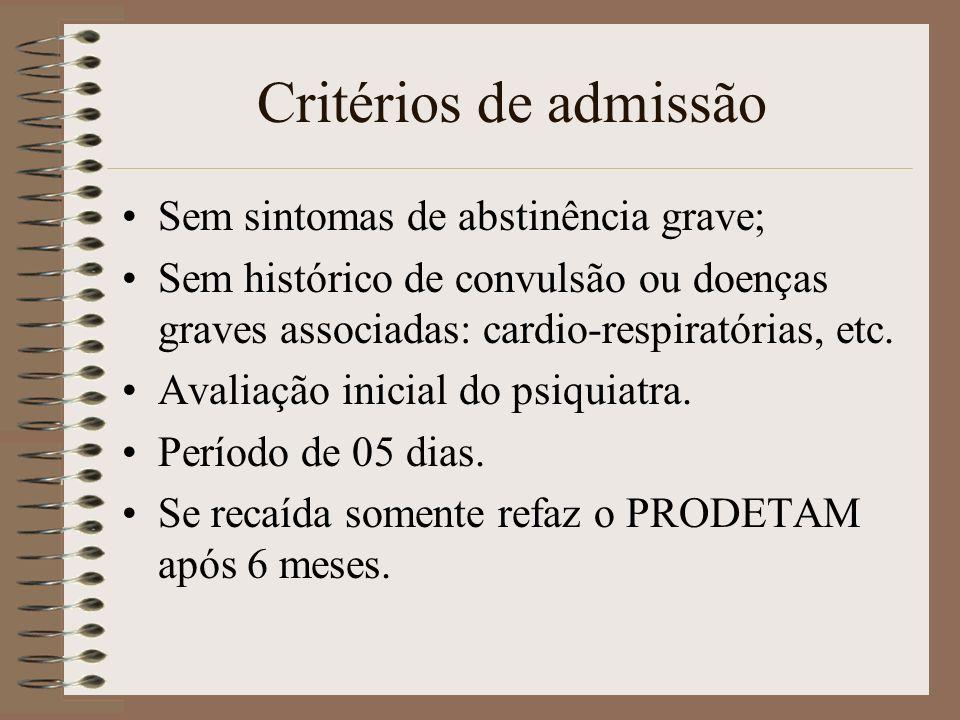 Critérios de admissão Sem sintomas de abstinência grave; Sem histórico de convulsão ou doenças graves associadas: cardio-respiratórias, etc. Avaliação