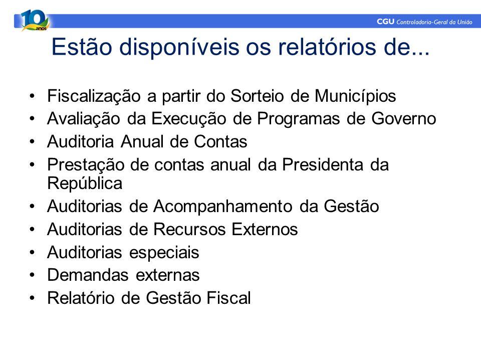 Estão disponíveis os relatórios de... Fiscalização a partir do Sorteio de Municípios Avaliação da Execução de Programas de Governo Auditoria Anual de