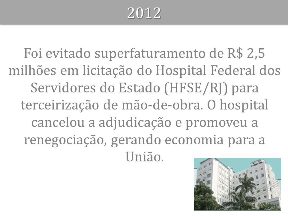 Foi evitado superfaturamento de R$ 2,5 milhões em licitação do Hospital Federal dos Servidores do Estado (HFSE/RJ) para terceirização de mão-de-obra.