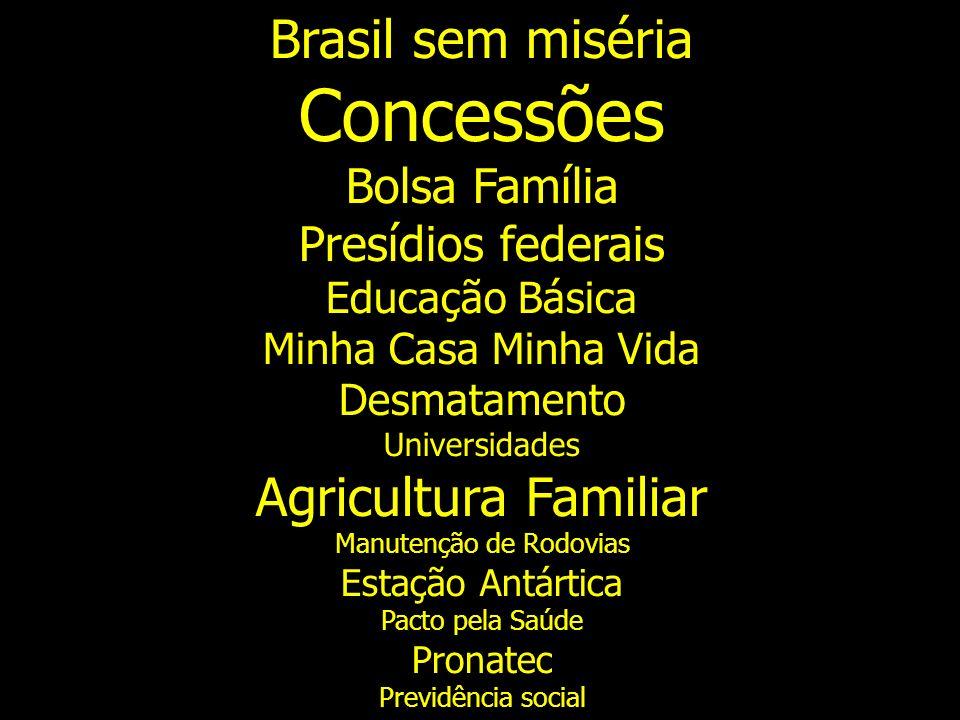 Brasil sem miséria Concessões Bolsa Família Presídios federais Educação Básica Minha Casa Minha Vida Desmatamento Universidades Agricultura Familiar M