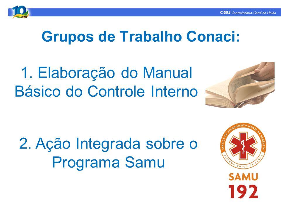 Grupos de Trabalho Conaci: 1. Elaboração do Manual Básico do Controle Interno 2. Ação Integrada sobre o Programa Samu