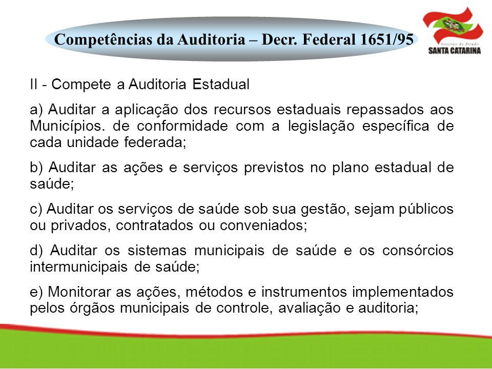 Competências da Auditoria – Decr. Federal 1651/95 II - Compete a Auditoria Estadual a) Auditar a aplicação dos recursos estaduais repassados aos Munic