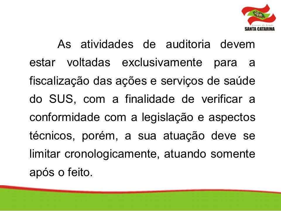As atividades de auditoria devem estar voltadas exclusivamente para a fiscalização das ações e serviços de saúde do SUS, com a finalidade de verificar