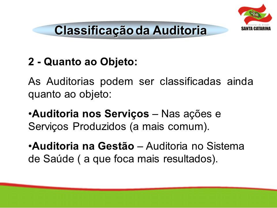 2 - Quanto ao Objeto: As Auditorias podem ser classificadas ainda quanto ao objeto: Auditoria nos Serviços – Nas ações e Serviços Produzidos (a mais c