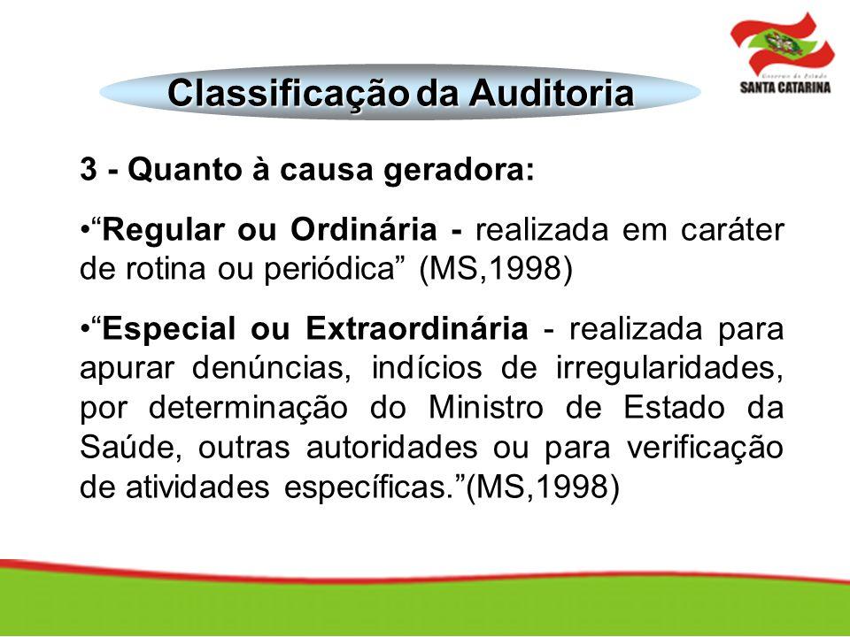 3 - Quanto à causa geradora: Regular ou Ordinária - realizada em caráter de rotina ou periódica (MS,1998) Especial ou Extraordinária - realizada para