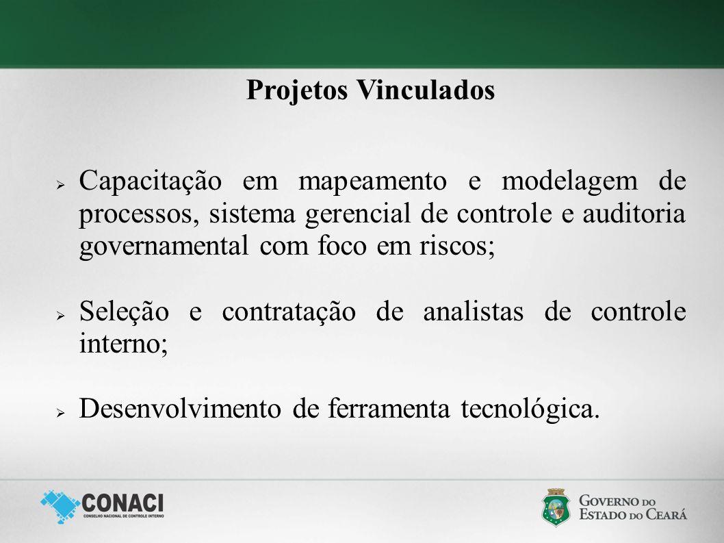 Projetos Vinculados Capacitação em mapeamento e modelagem de processos, sistema gerencial de controle e auditoria governamental com foco em riscos; Se