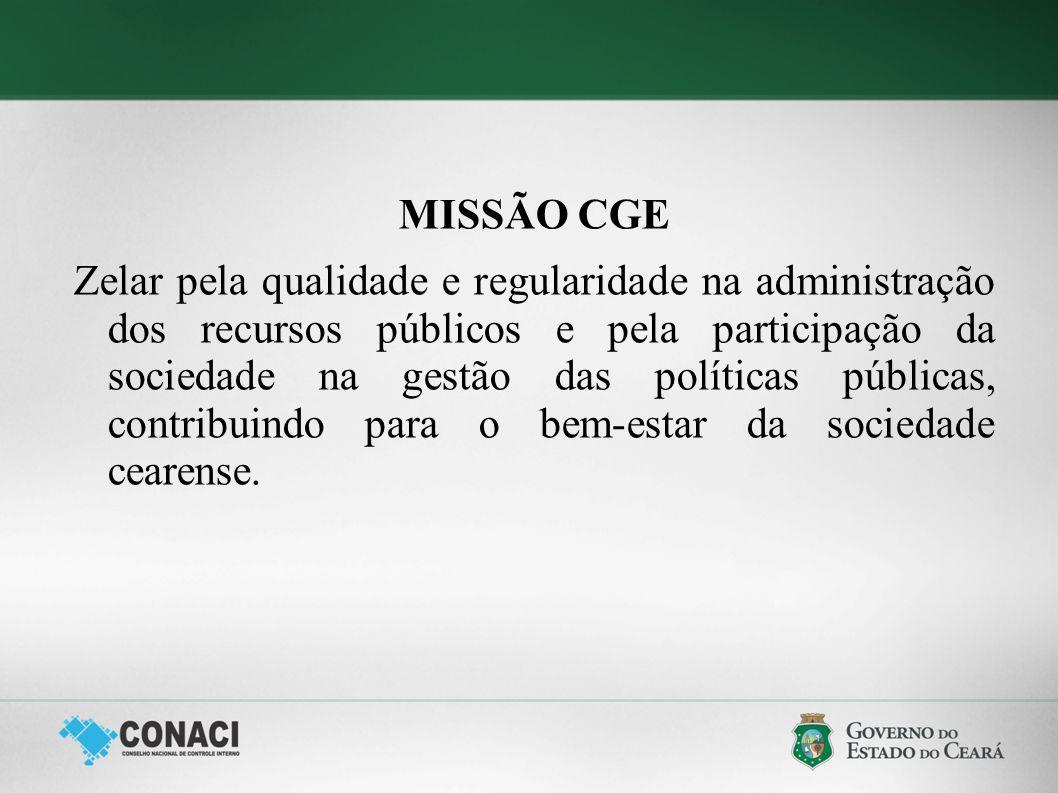 MISSÃO CGE Zelar pela qualidade e regularidade na administração dos recursos públicos e pela participação da sociedade na gestão das políticas pública