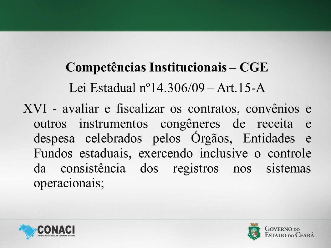 Competências Institucionais – CGE Lei Estadual nº14.306/09 – Art.15-A XVI - avaliar e fiscalizar os contratos, convênios e outros instrumentos congêne